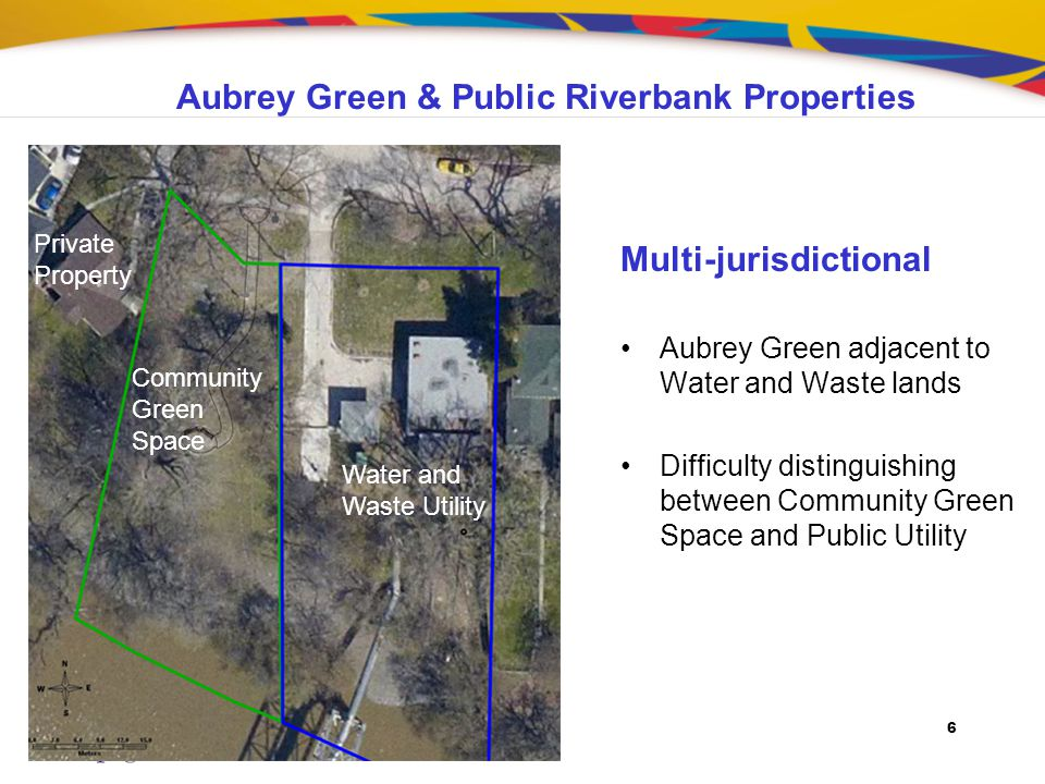6 Multi-jurisdictional Aubrey Green adjacent to Water and Waste lands Difficulty distinguishing between Community Green Space and Public Utility Commu