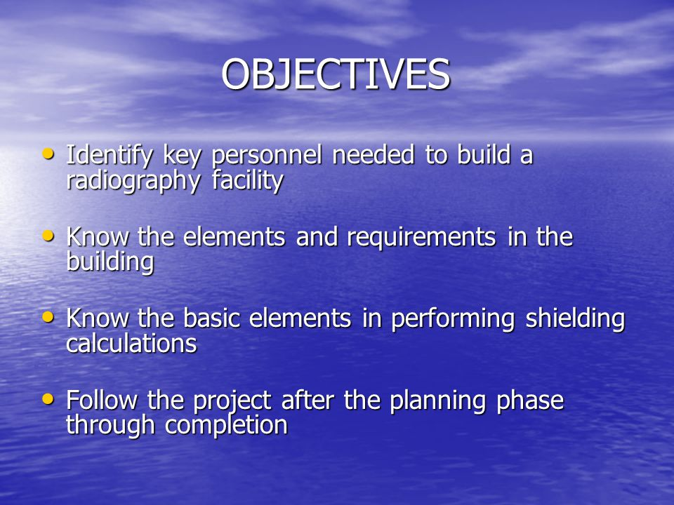 ITEMS DURING and POST CONSTRUCTION ITEMS DURING and POST CONSTRUCTION Ensure that the proper shielding report is being used.