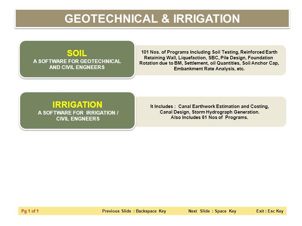 101 Nos. of Programs Including Soil Testing, Reinforced Earth Retaining Wall, Liquefaction, SBC, Pile Design, Foundation Rotation due to BM, Settlemen