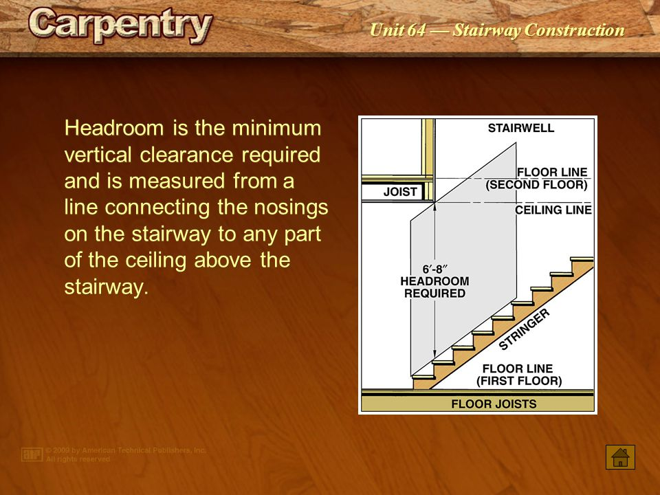Unit 64 Stairway Construction The minimum clear stairway width above handrails is 36. The clear width at and below the handrail depends on the number