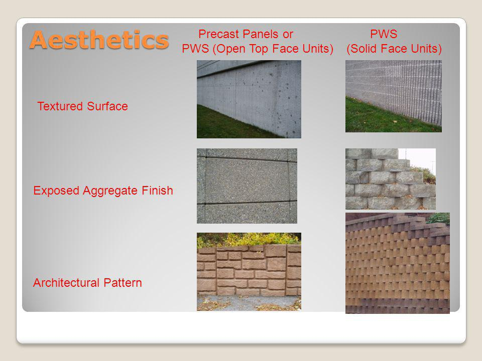 Aesthetics Architectural Pattern Exposed Aggregate Finish Textured Surface Precast Panels or PWS (Open Top Face Units) PWS (Solid Face Units)