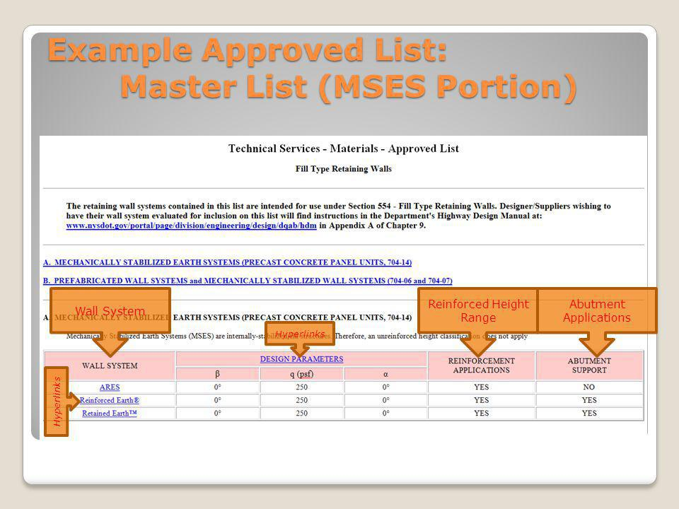 Example Approved List: Master List (MSES Portion) Hyperlinks Wall System Reinforced Height Range Abutment Applications Hyperlinks