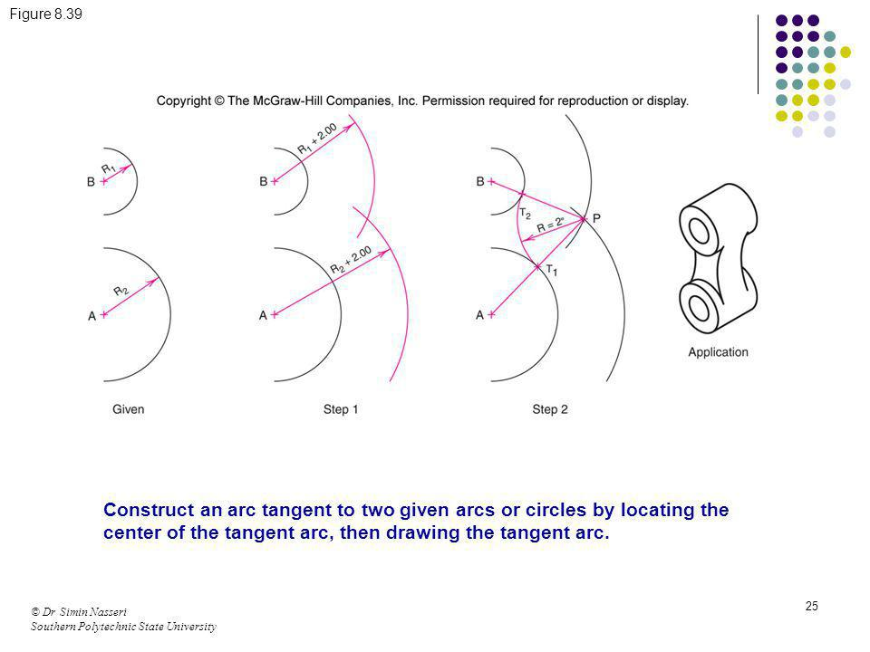 © Dr Simin Nasseri Southern Polytechnic State University 25 Figure 8.39 Construct an arc tangent to two given arcs or circles by locating the center o