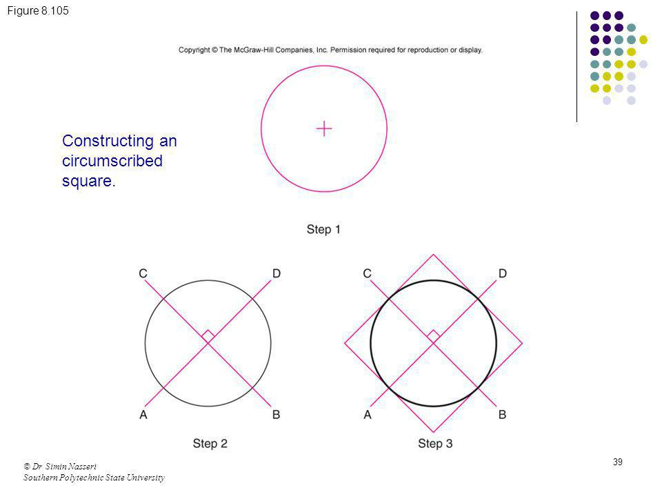 © Dr Simin Nasseri Southern Polytechnic State University 39 Figure 8.105 Constructing an circumscribed square.
