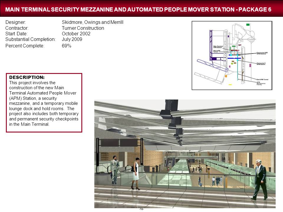 -18- MAIN TERMINAL SECURITY MEZZANINE AND AUTOMATED PEOPLE MOVER STATION - PACKAGE 6 Designer:Skidmore, Owings and Merrill Contractor:Turner Construct