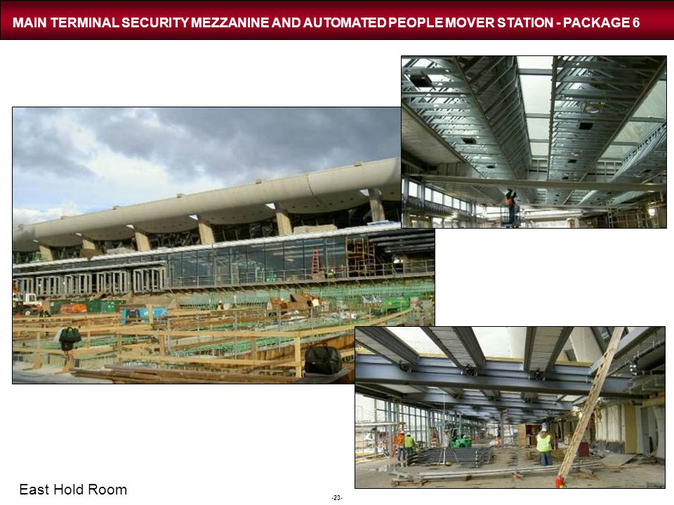 -23- MAIN TERMINAL SECURITY MEZZANINE AND AUTOMATED PEOPLE MOVER STATION - PACKAGE 6 East Hold Room