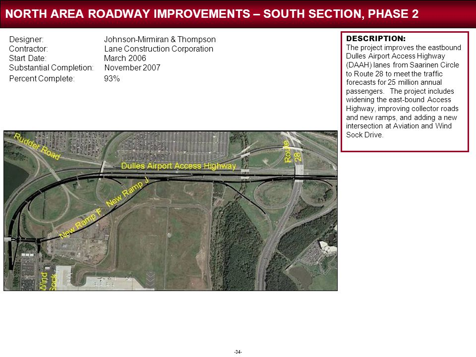 -34- NORTH AREA ROADWAY IMPROVEMENTS – SOUTH SECTION, PHASE 2 DESCRIPTION: The project improves the eastbound Dulles Airport Access Highway (DAAH) lan