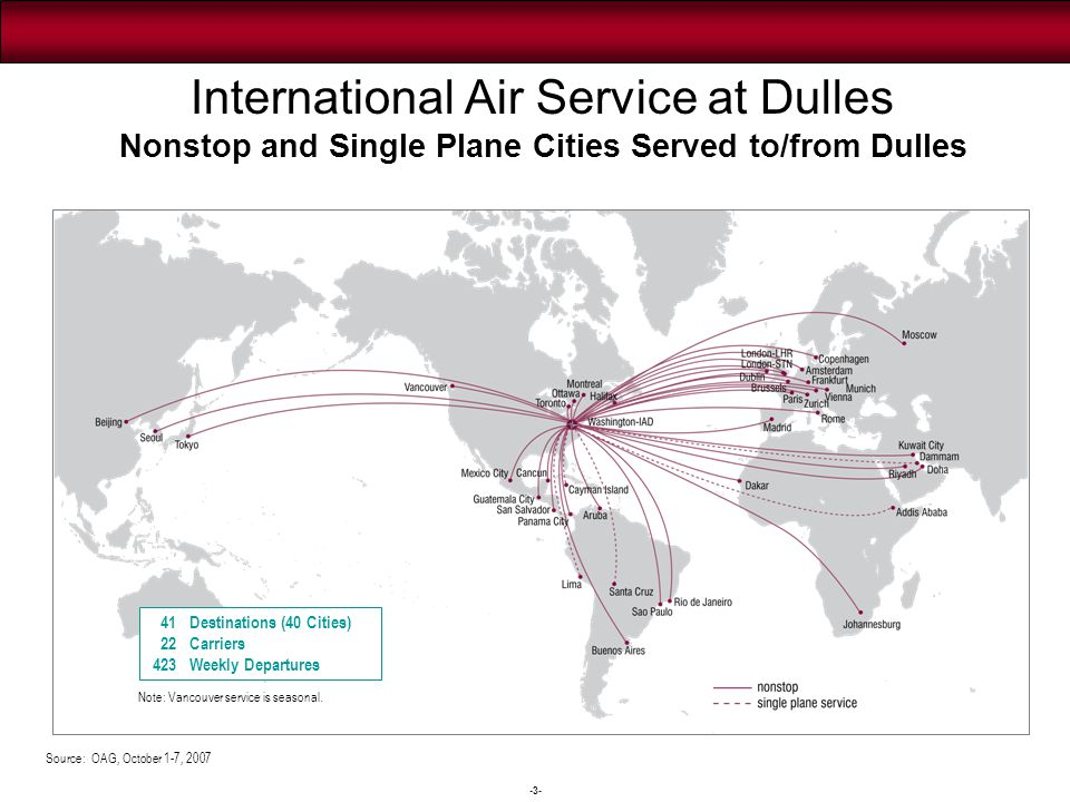 -3- International Air Service at Dulles Nonstop and Single Plane Cities Served to/from Dulles Source: OAG, October 1-7, 2007 41 Destinations (40 Citie