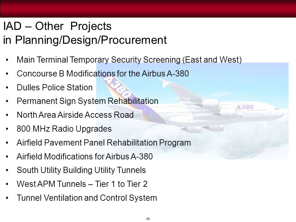 -39- IAD – Other Projects in Planning/Design/Procurement Main Terminal Temporary Security Screening (East and West) Concourse B Modifications for the