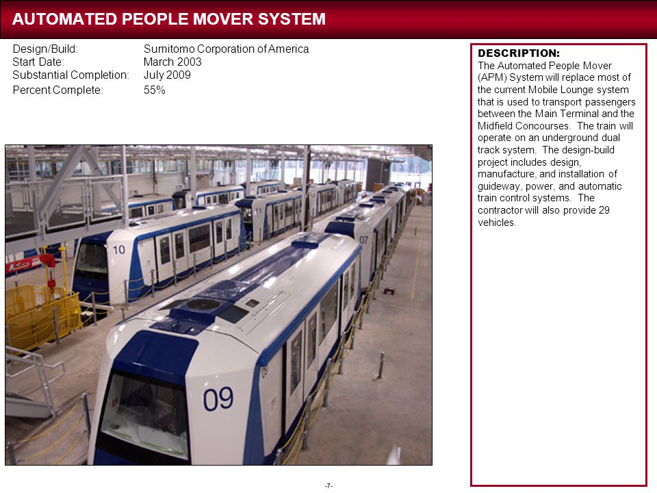 -7- AUTOMATED PEOPLE MOVER SYSTEM DESCRIPTION: The Automated People Mover (APM) System will replace most of the current Mobile Lounge system that is u