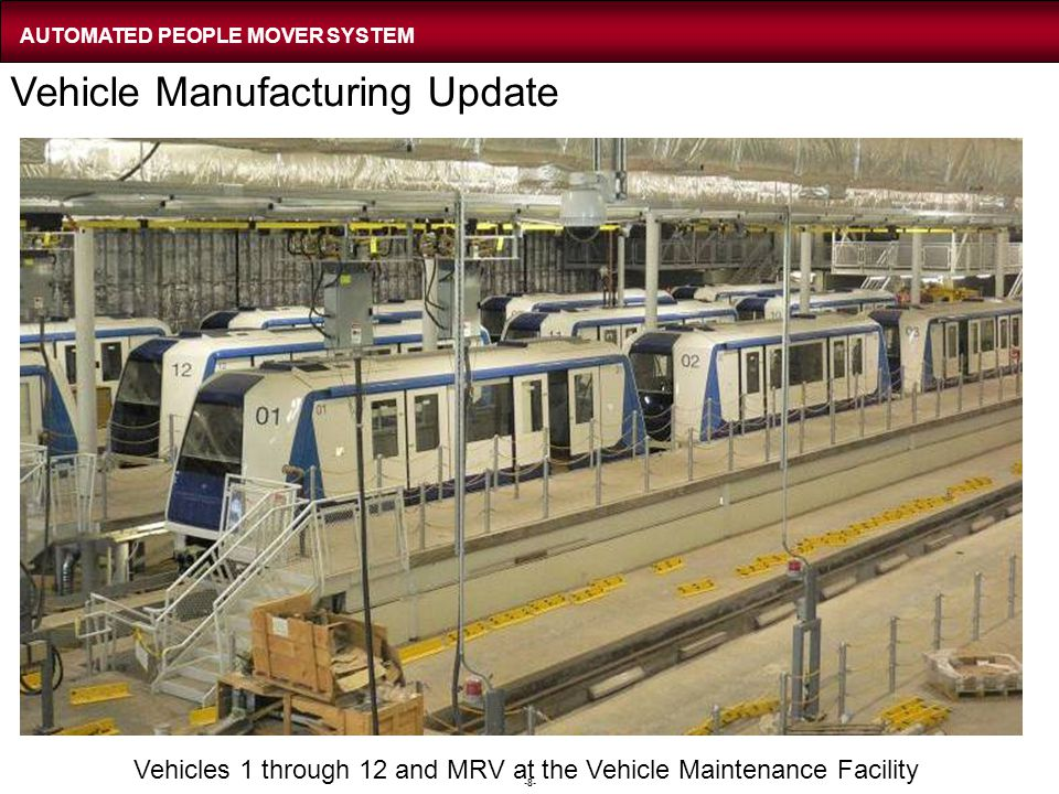 -8- Vehicles 1 through 12 and MRV at the Vehicle Maintenance Facility Vehicle Manufacturing Update AUTOMATED PEOPLE MOVER SYSTEM