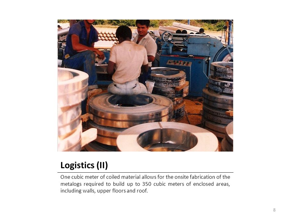 Logistics (II) One cubic meter of coiled material allows for the onsite fabrication of the metalogs required to build up to 350 cubic meters of enclos