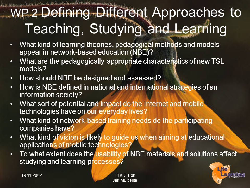 19.11.2002TTKK, Pori Jari Multisilta WP 2 Defining Different Approaches to Teaching, Studying and Learning What kind of learning theories, pedagogical