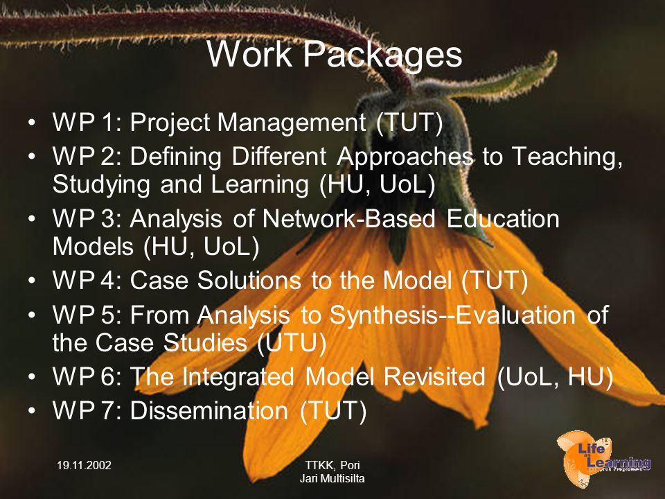 19.11.2002TTKK, Pori Jari Multisilta Work Packages WP 1: Project Management (TUT) WP 2: Defining Different Approaches to Teaching, Studying and Learning (HU, UoL) WP 3: Analysis of Network-Based Education Models (HU, UoL) WP 4: Case Solutions to the Model (TUT) WP 5: From Analysis to Synthesis--Evaluation of the Case Studies (UTU) WP 6: The Integrated Model Revisited (UoL, HU) WP 7: Dissemination (TUT)