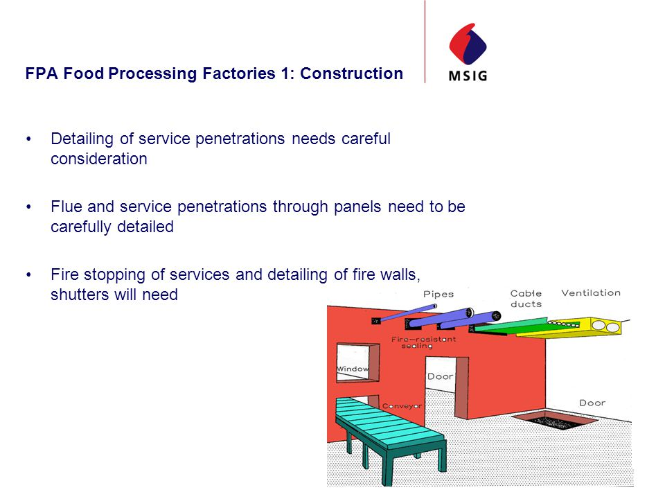 FPA Food Processing Factories 1: Construction Detailing of service penetrations needs careful consideration Flue and service penetrations through panels need to be carefully detailed Fire stopping of services and detailing of fire walls, shutters will need