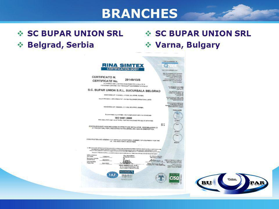 BRANCHES SC BUPAR UNION SRL Belgrad, Serbia SC BUPAR UNION SRL Varna, Bulgary