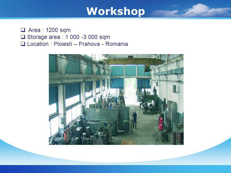Workshop Area : 1200 sqm Storage area : 1 000 -3 000 sqm Location : Ploiesti – Prahova - Romania