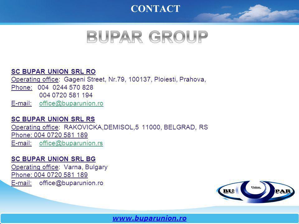 CONTACT www.buparunion.ro SC BUPAR UNION SRL RO Operating office: Gageni Street, Nr.79, 100137, Ploiesti, Prahova, Phone: 004 0244 570 828 004 0720 58