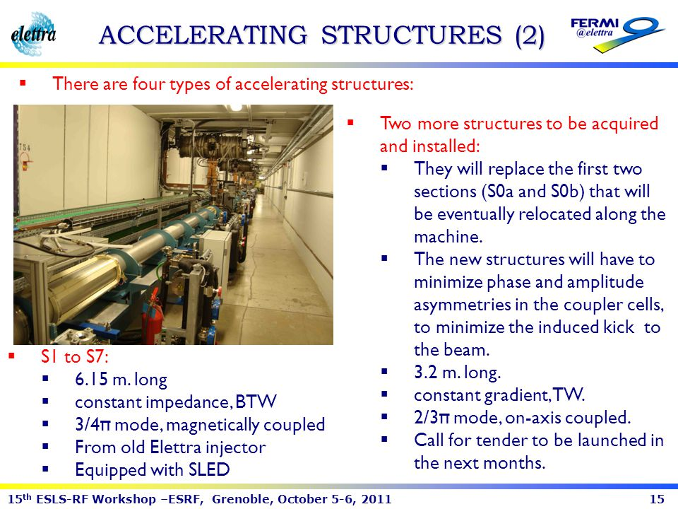 15 th ESLS-RF Workshop –ESRF, Grenoble, October 5-6, 201115 ACCELERATING STRUCTURES (2) There are four types of accelerating structures: S1 to S7: 6.1