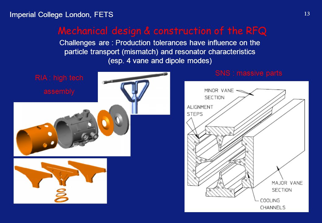 Imperial College London, FETS 13 Mechanical design & construction of the RFQ Challenges are : Production tolerances have influence on the particle tra