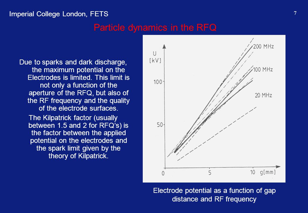 Imperial College London, FETS 7 Particle dynamics in the RFQ Due to sparks and dark discharge, the maximum potential on the Electrodes is limited. Thi