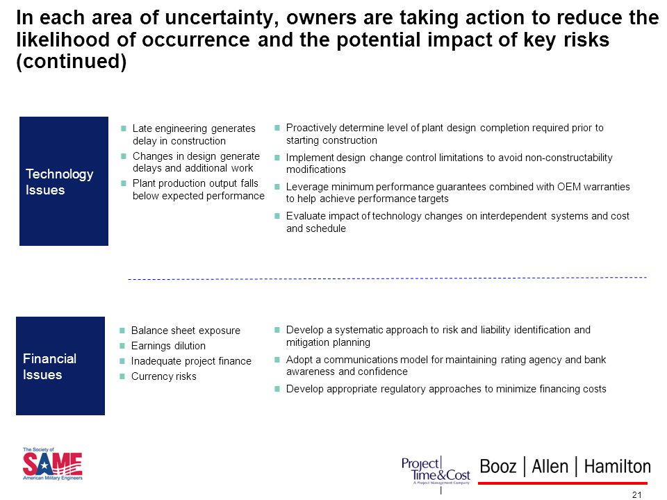 21 In each area of uncertainty, owners are taking action to reduce the likelihood of occurrence and the potential impact of key risks (continued) Late