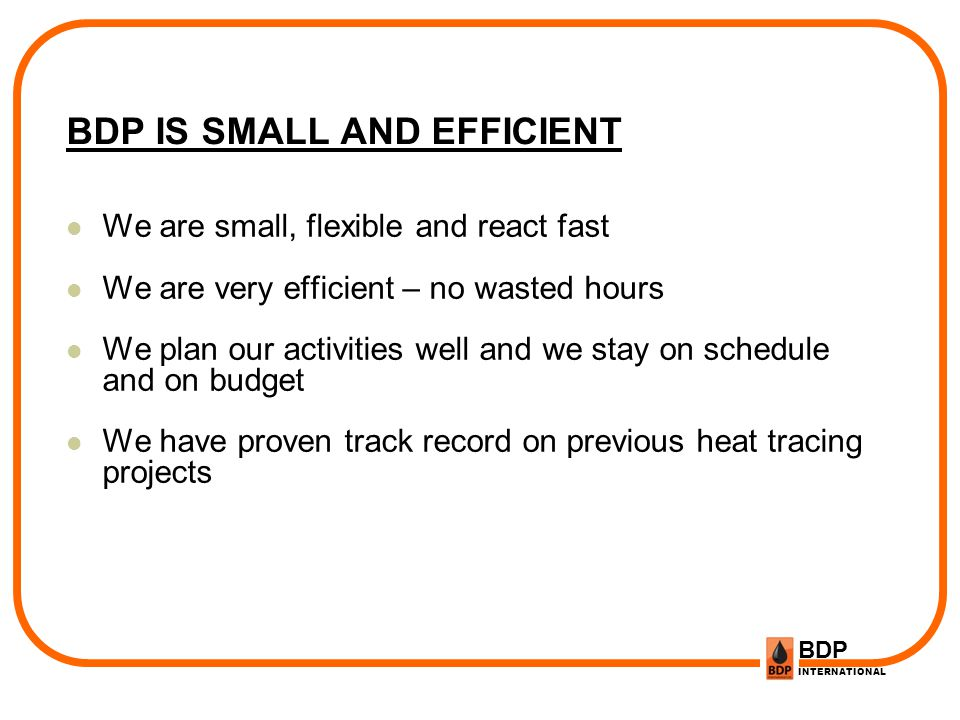 BDP INTERNATIONAL BDP IS SMALL AND EFFICIENT We are small, flexible and react fast We are very efficient – no wasted hours We plan our activities well