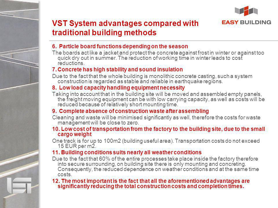 VST System advantages compared with traditional building methods 6. Particle board functions depending on the season The boards act like a jacket and
