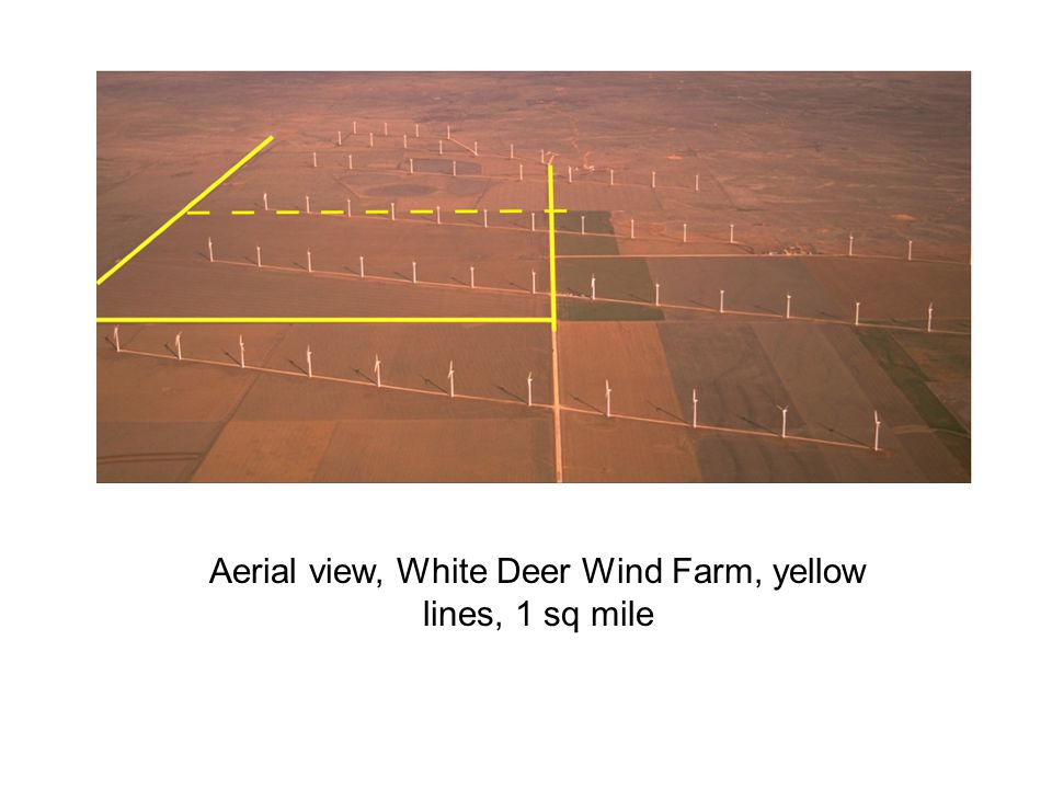 Aerial view, White Deer Wind Farm, yellow lines, 1 sq mile