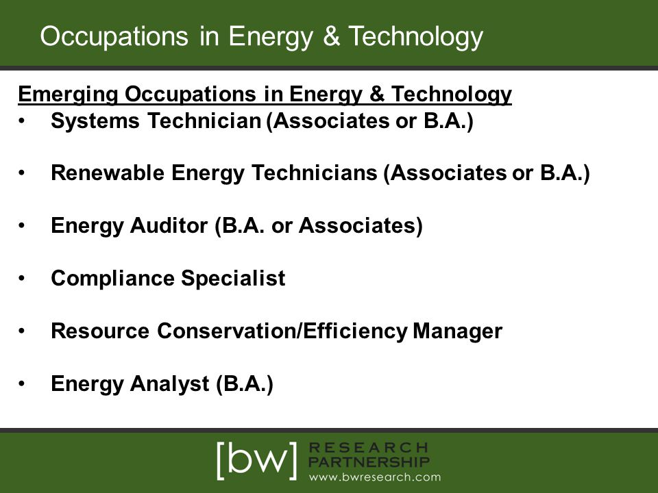 Occupations in Energy & Technology Emerging Occupations in Energy & Technology Systems Technician (Associates or B.A.) Renewable Energy Technicians (Associates or B.A.) Energy Auditor (B.A.