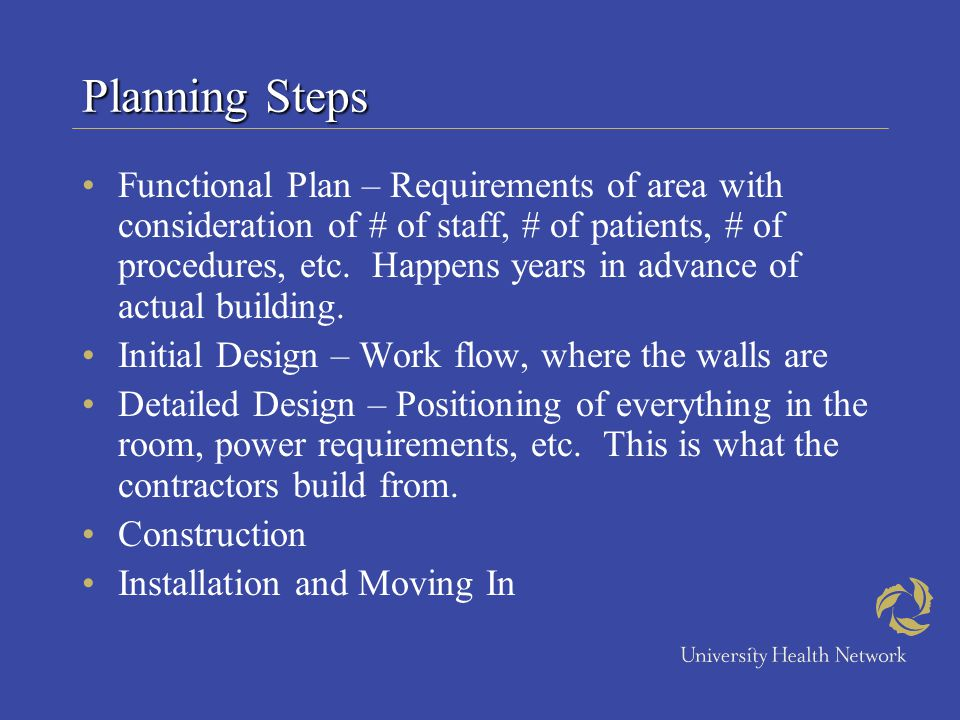 Planning Steps Functional Plan – Requirements of area with consideration of # of staff, # of patients, # of procedures, etc. Happens years in advance