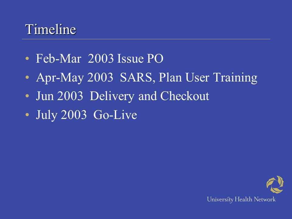 Timeline Feb-Mar 2003 Issue PO Apr-May 2003 SARS, Plan User Training Jun 2003 Delivery and Checkout July 2003 Go-Live