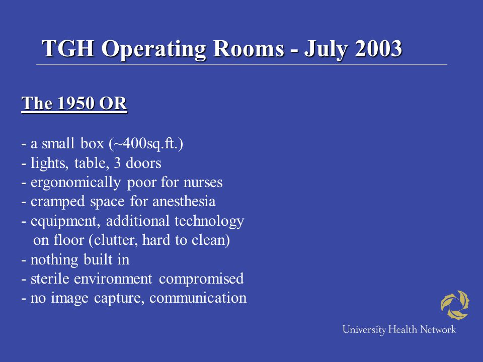 TGH Operating Rooms - July 2003 The 1950 OR - a small box (~400sq.ft.) - lights, table, 3 doors - ergonomically poor for nurses - cramped space for an