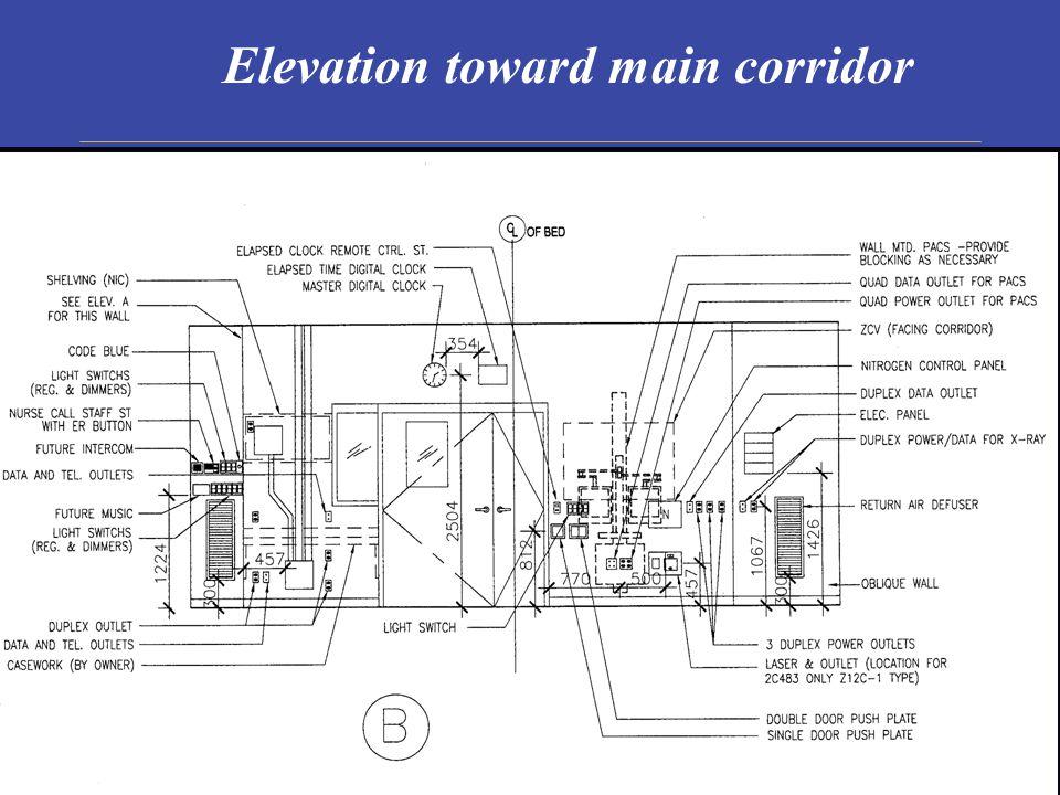 Elevation toward main corridor