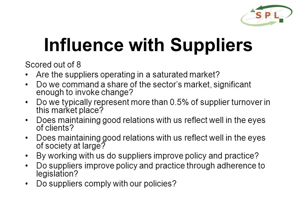 Influence with Suppliers Scored out of 8 Are the suppliers operating in a saturated market.