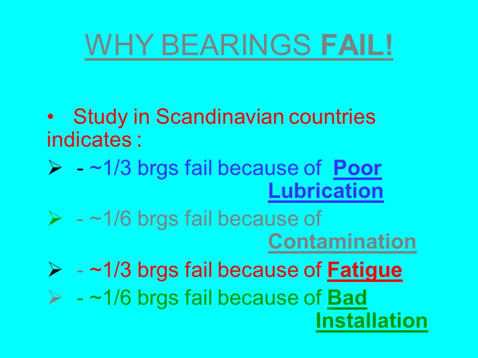 WHY BEARINGS FAIL! Study in Scandinavian countries indicates : - ~1/3 brgs fail because of Poor Lubrication - ~1/6 brgs fail because of Contamination