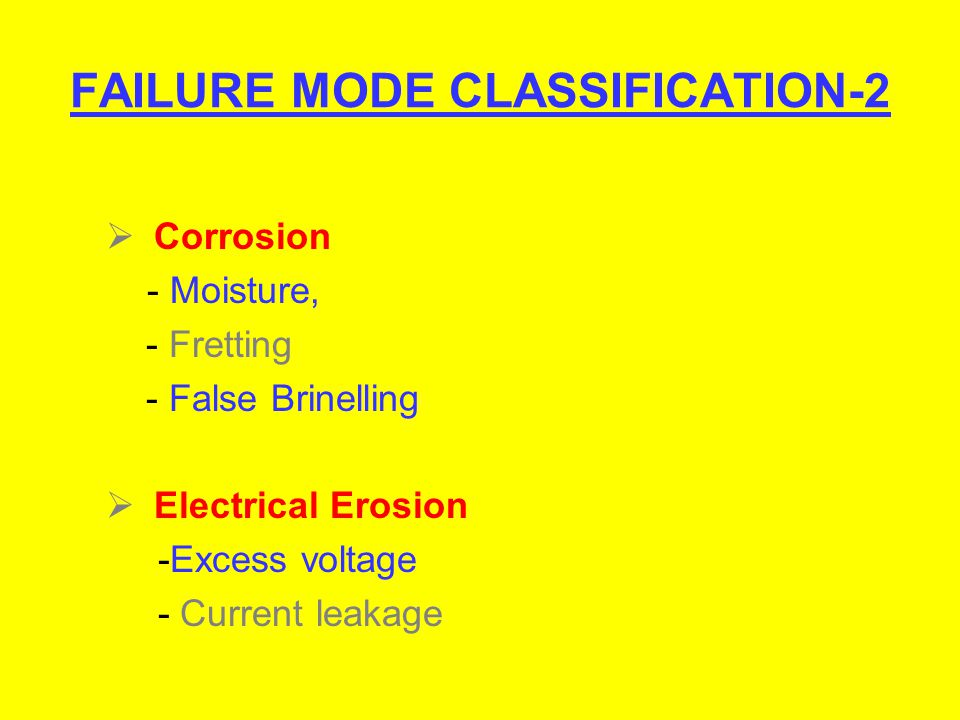 FAILURE MODE CLASSIFICATION-2 Corrosion - Moisture, - Fretting - False Brinelling Electrical Erosion -Excess voltage - Current leakage