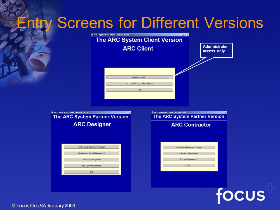 FocusPlus SA January 2003 Entry Screens for Different Versions Administrator access only