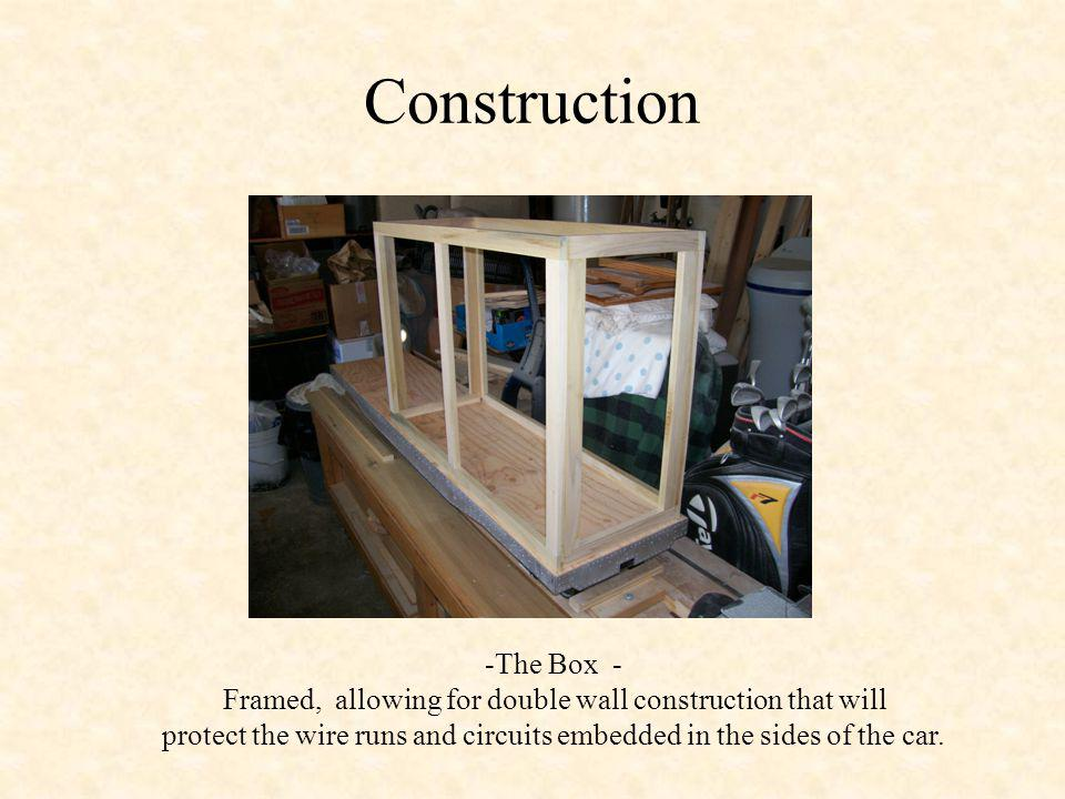 Construction -The Box - Framed, allowing for double wall construction that will protect the wire runs and circuits embedded in the sides of the car.
