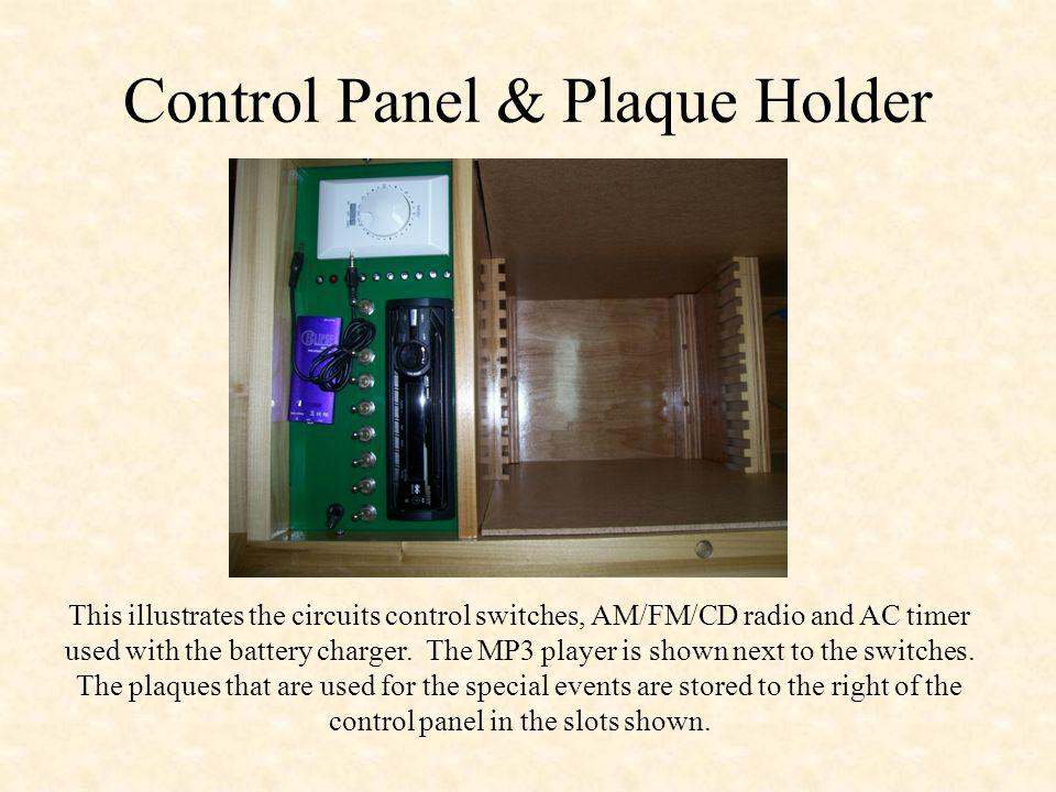 Control Panel & Plaque Holder This illustrates the circuits control switches, AM/FM/CD radio and AC timer used with the battery charger.
