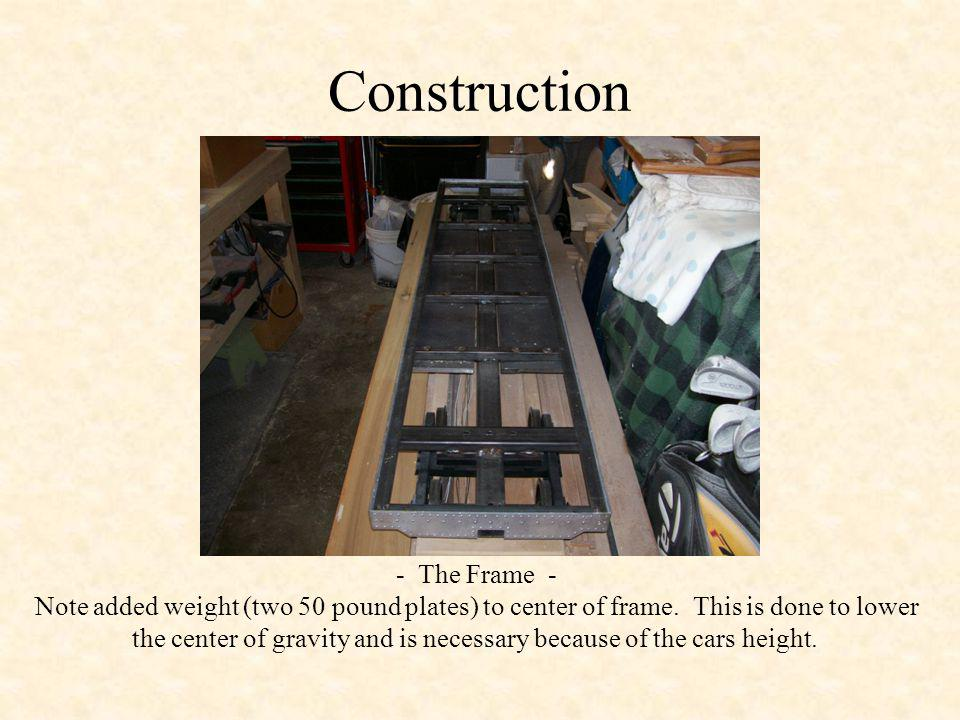 Construction - The Frame - Note added weight (two 50 pound plates) to center of frame.