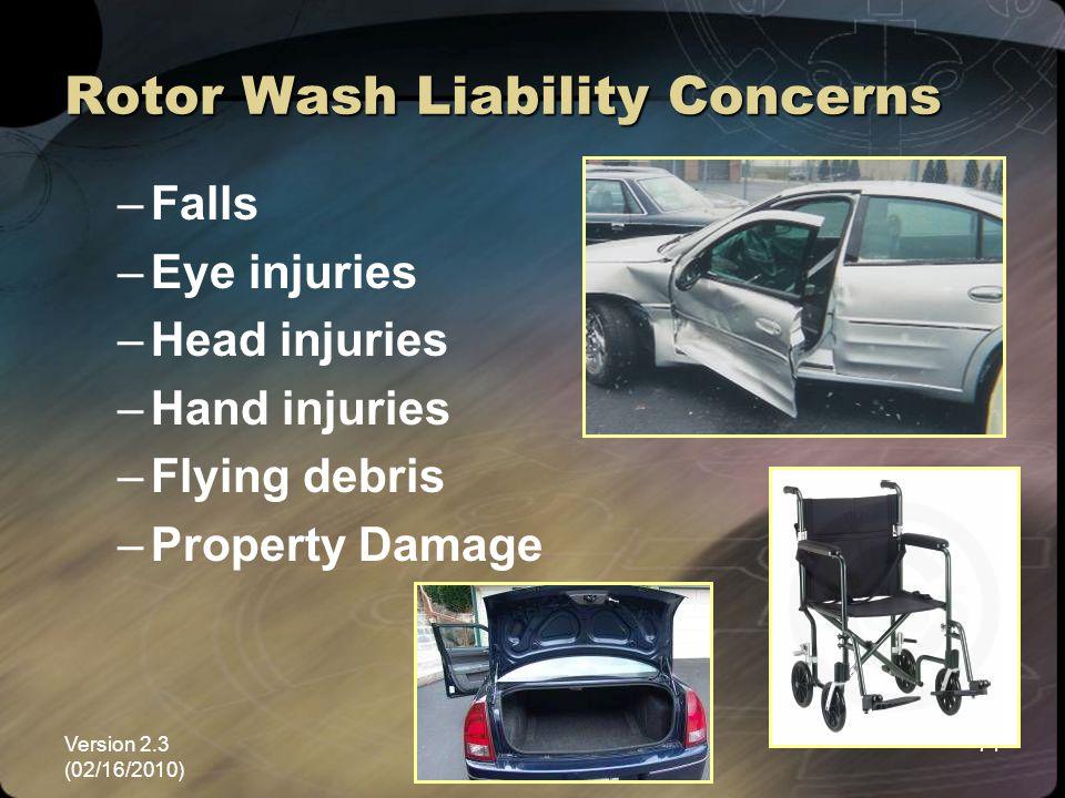 Version 2.3 (02/16/2010) NEMSPA71 Rotor Wash Liability Concerns –Falls –Eye injuries –Head injuries –Hand injuries –Flying debris –Property Damage