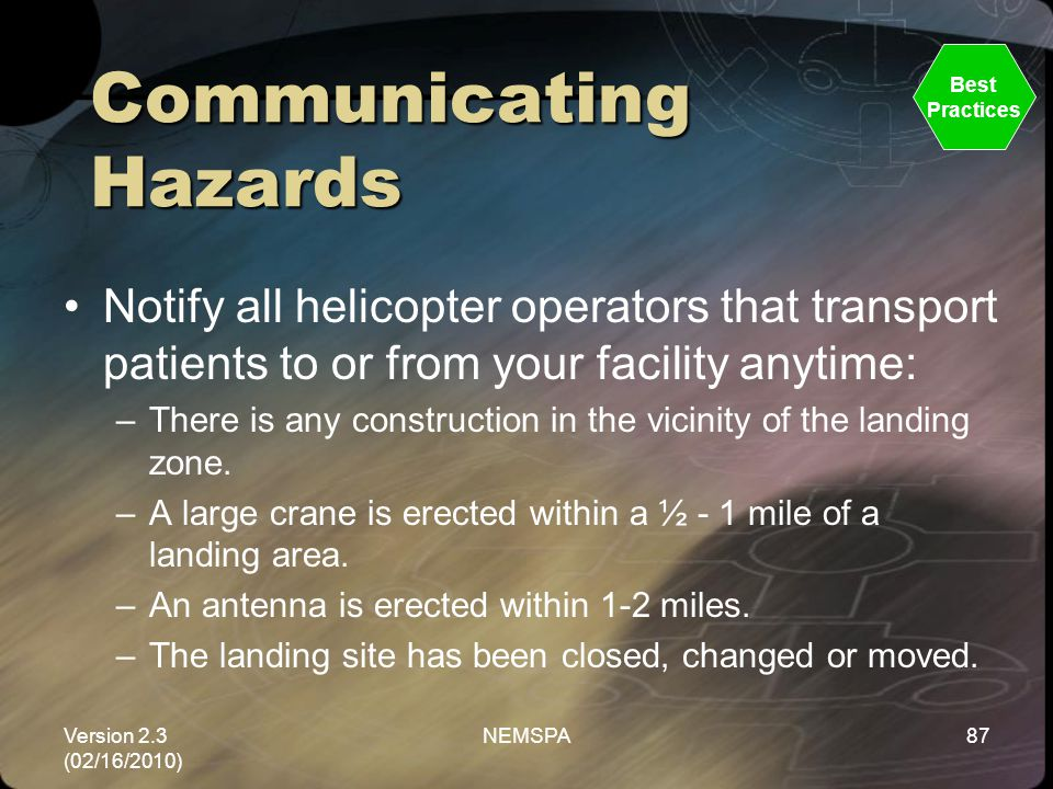 Version 2.3 (02/16/2010) NEMSPA87 Communicating Hazards Notify all helicopter operators that transport patients to or from your facility anytime: –The