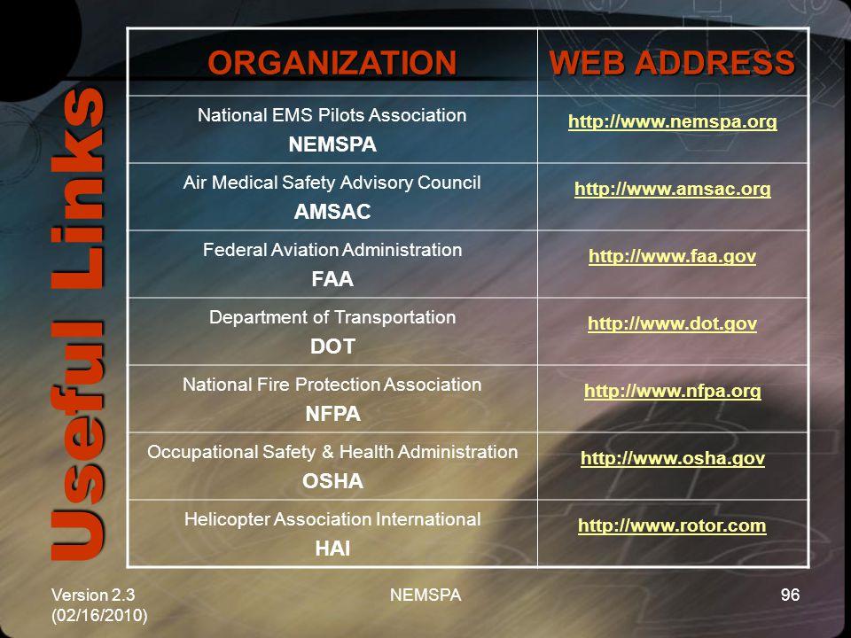 Version 2.3 (02/16/2010) NEMSPA96 Useful Links ORGANIZATION WEB ADDRESS National EMS Pilots Association NEMSPA http://www.nemspa.org Air Medical Safet