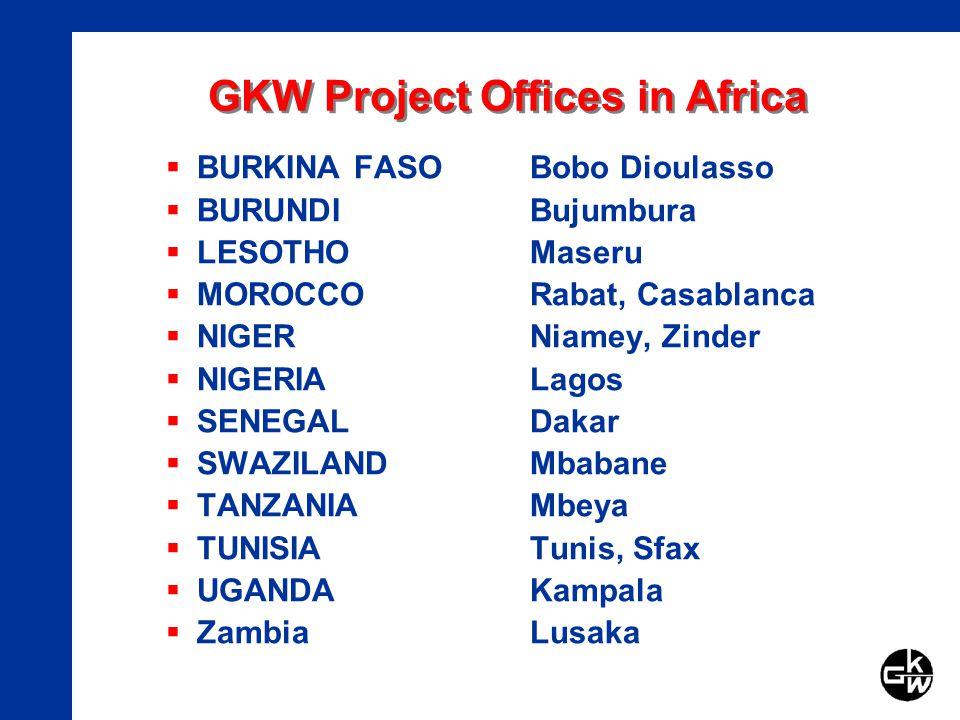 GKW Project Offices in Africa BURKINA FASOBobo Dioulasso BURUNDIBujumbura LESOTHOMaseru MOROCCORabat, Casablanca NIGERNiamey, Zinder NIGERIALagos SENEGALDakar SWAZILANDMbabane TANZANIAMbeya TUNISIATunis, Sfax UGANDAKampala ZambiaLusaka