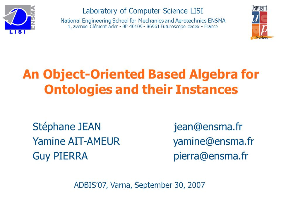 12 Outline uContext: OBDBs and OBDBs Query Langages uOverall Approach uProposal: Data Model and Query Algebra for OBDB uConclusion and future work