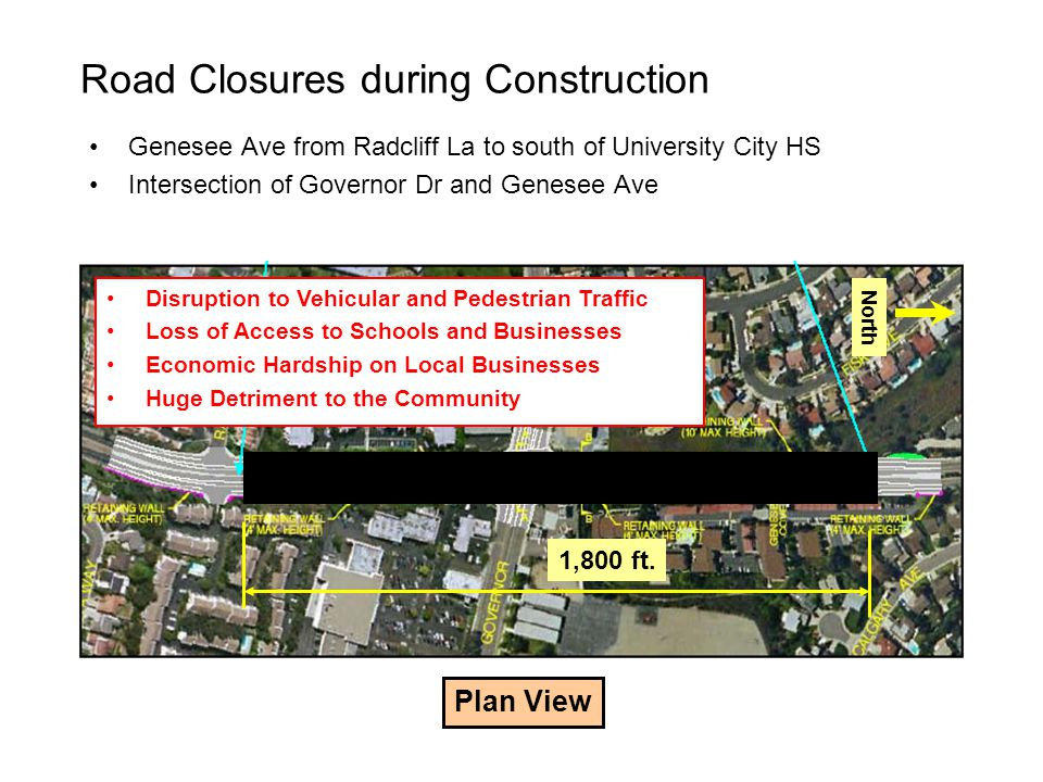 Road Closures during Construction Genesee Ave from Radcliff La to south of University City HS Intersection of Governor Dr and Genesee Ave Plan View 1,