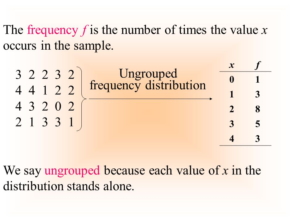 Classes: When a large set of data has many different x values instead of a few repeated values, as in the previous example, we can group the data into a set of classes and construct a frequency table.