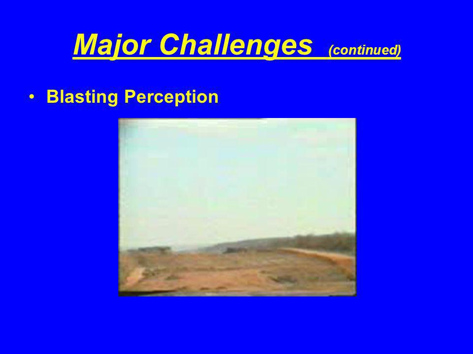 Major Challenges (continued) Blasting Perception