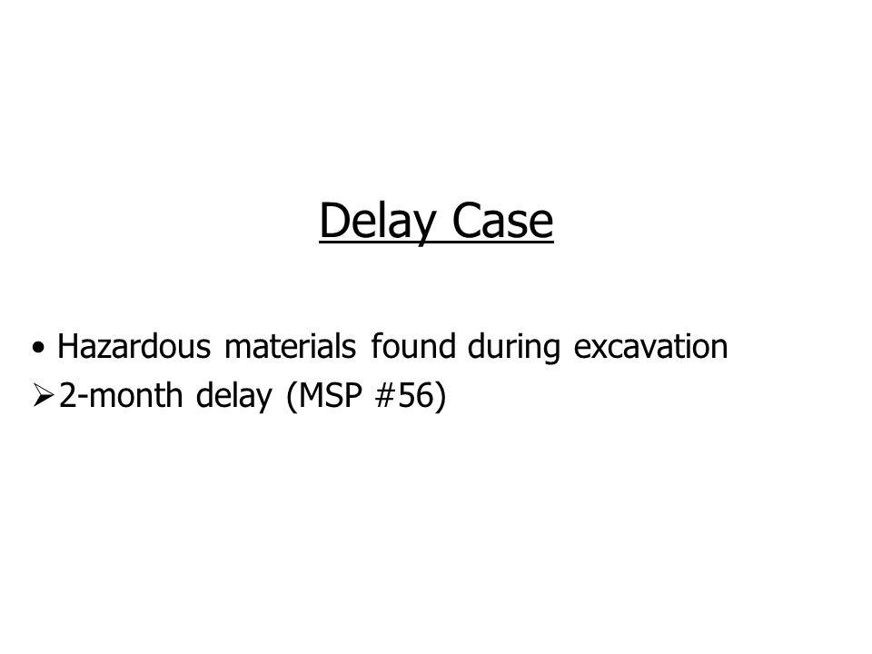 Delay Case Hazardous materials found during excavation 2-month delay (MSP #56)